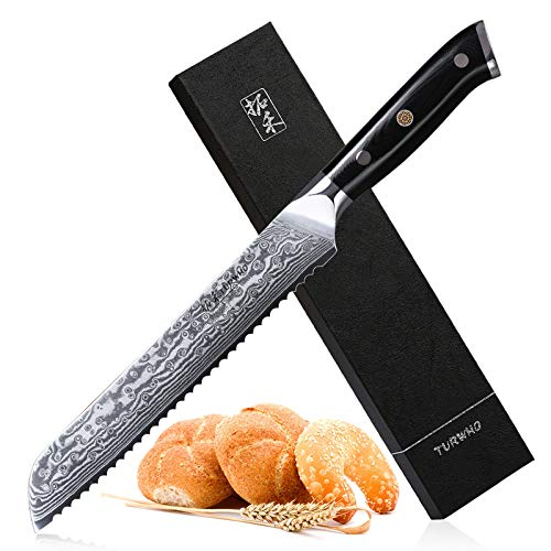 Serrated Bread Knife 8 Inch - Japanese 67-layers Dumascus Steel