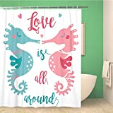 Awowee Bathroom Shower Curtain Two Cute Seahorses Kissing Each Other in The Polyester Fabric 66x72 inches Waterproof Bath Curtain Set with Hooks