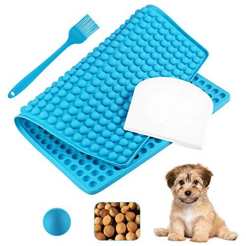 Yosemy Silikon Backmatte Hundekekse klein Set,1.2cm Halbkugel Silikonmatte mit Backpinsel und Teigschaber zur Herstellung für Wiederverwendbar Backunterlage Hitzebeständig 40x28cm