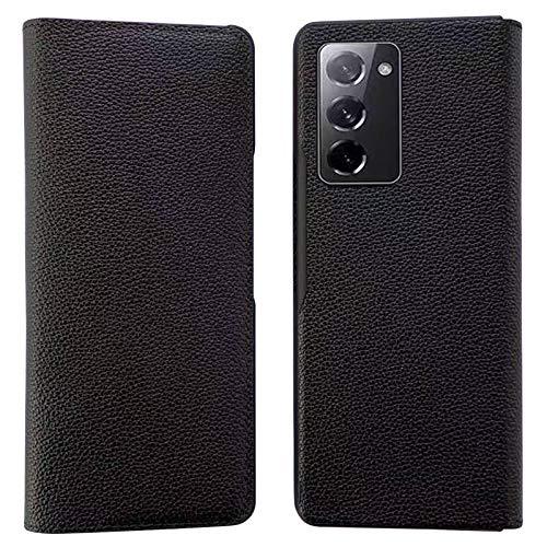 XJZ Compatibile con Samsung Galaxy Z Fold 2 5G Smartphone Cover[2020]+3D Pellicola Protettiva in Vetro Temperato/Custodia Pelle Premium Slot Schede Magnetica Flip Protezione Case Cover Supporto-Nero