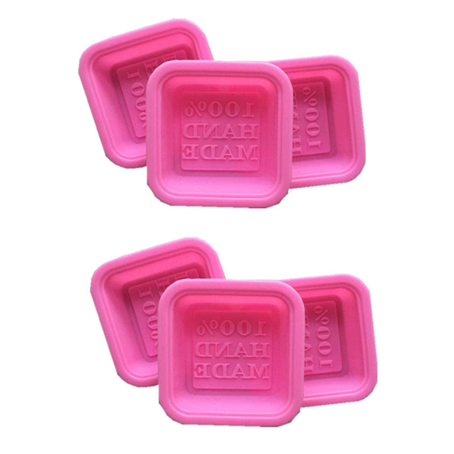 AKOAK 6 Pack Pink DIY Handmade Square Silicone Soap Molds - 100% Handmade - for Soap Making Handmade Baking Tool Soap Cake Decorating