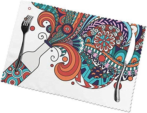 Summer Blue Crab Welcome Print Placemats Set of 6 Easy to Clean Heat Resistant Stain Resistant Polyester Material Placemats-Colorful Champagne Bottle-One Size