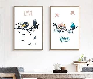 qinhome Northern Europe Lovely Bird Family Portrait Decoration Lucky Bird Frameless Painting