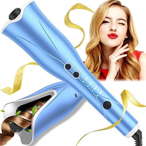 "Auto Hair Curler, Automatic Curling Iron Wand with 4 Temp Up to 425℉& Timer, 1"" Larger Rotating Barrel Curling Wand with Dual Voltage, Beach Waves Curl and Spin Iron Fast Heating for Hair Styling"