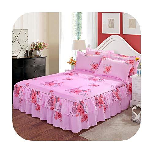 Bedspread 3 szt. spódnica na łóżko antypoślizgowe prześcieradło pokrowiec poliester królowa king size wystrój domu z elastyczną taśmą Cobertores De Cama-13-3 szt. 200 x 220 cm