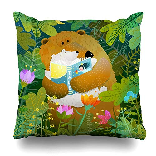 JIMSTRES Decorativepillows Case Throw Pillows Covers For Couch/BedBear Reading Book Cub Good Night Fairy Tale Going Bed Home Sofa Cushion Cover Pillowcase Gift 22x22 inches