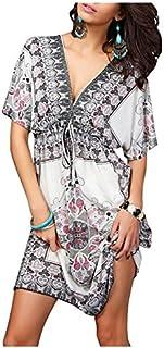 Bohemia Boho Summer Dress Low V Cut Neckline Short Sleeves Tribal Beach Dress