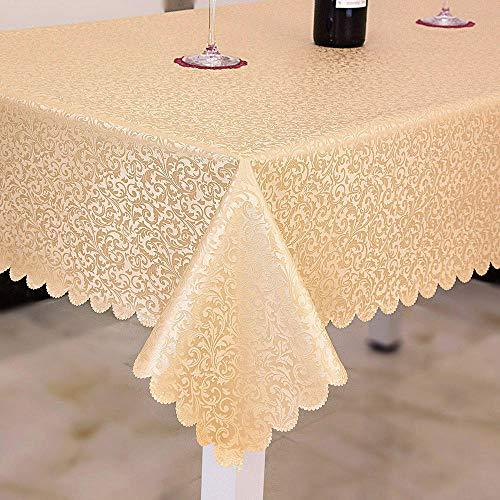 Kuingbhn Mantel de Mesa Rectangular Impermeable Anti Escaldado Anti Rayado Lavables Antimanchas para Decoración de La Mesa de Comedor Dorado 130×170cm