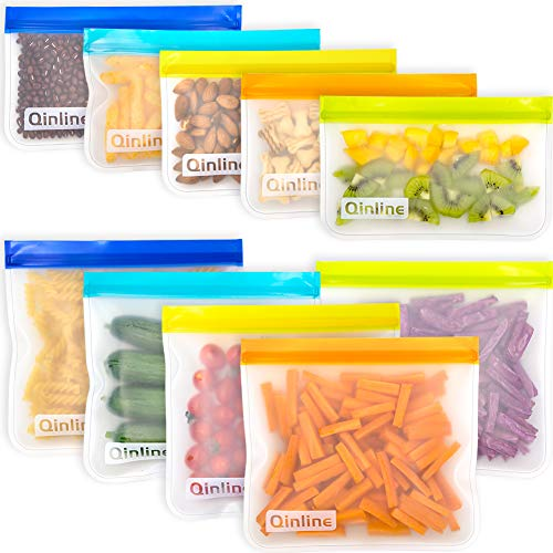 Reusable Storage Bags - 10 Pack Leakproof Freezer Bag(5 Reusable Sandwich Bags + 5 Reusable Snack Bags) EXTRA THICK Lunch Bags for Food Storage Home Organization Traval & Make-up BPA FREE