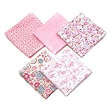 Tissus Coton 50 x 50cm Couture Quilting Fabric Patchwork Vêtements Sewing Artisanat - 5pcs (Rose)