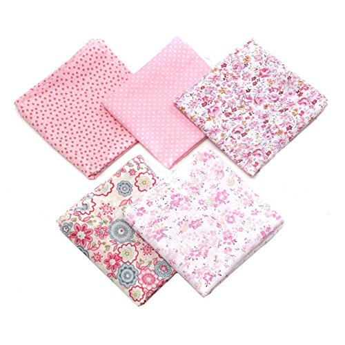 NaroFace Tissus Coton 50 x 50cm Couture Quilting Fabric Patchwork Vêtements Sewing Artisanat - 5pcs (Rose)