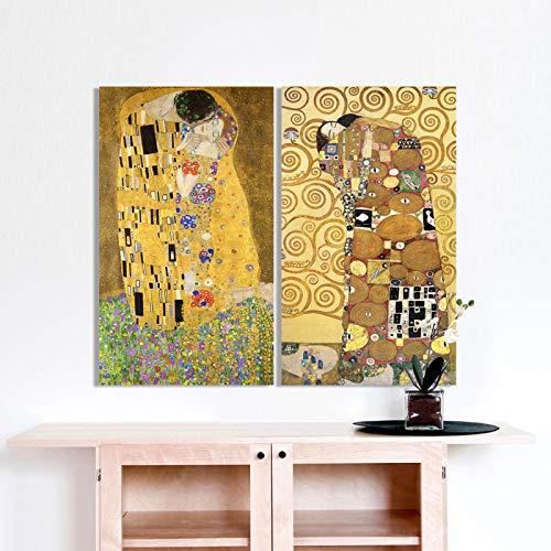 Golden Kiss Gustav Klimt reproducción de pinturas en lienzo Pintura al óleo impresa hermosa mujer obra de arte Cuadro de pared Habitación 62x85cm (25x34in) x2 Marco interior