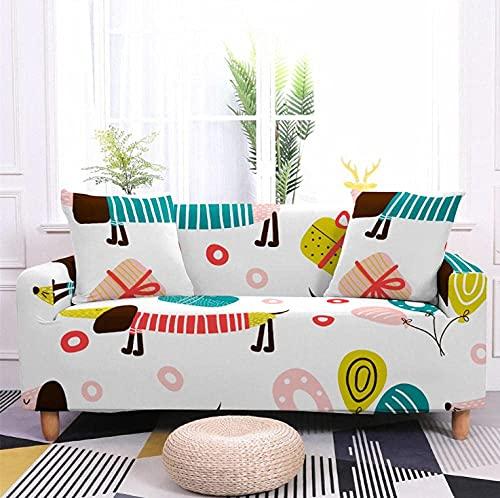 Funda de sofá elástica de 3 plazas con dibujos animados de animales, perros, poliéster, licra, esquinero, fundas de sofá, fundas de sofá elásticas antideslizantes, fundas de sofá con estampado unive