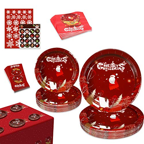Christmas Decorations, Christmas Paper Plates and Napkins, Christmas Party Supplies, 123 PCS Disposable Dinnerware Set Serves 30 Guests, Christmas Table Decorations, Christmas Party Decoration