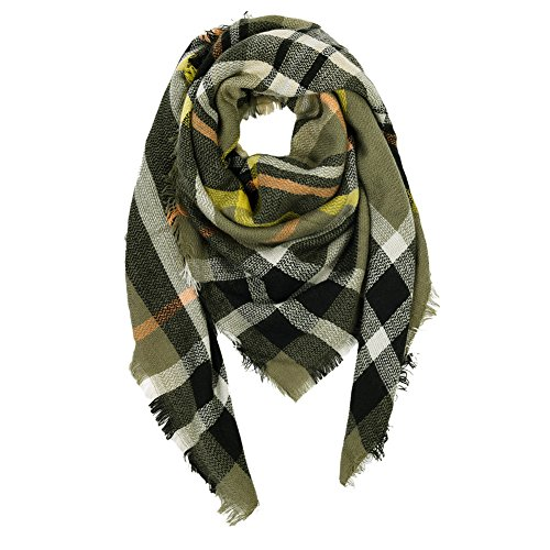 VBIGER Women Stylish Blanket Plaid Scarf Oversized Checked Shawls Wrap Shawl Pashmina (Deep Green)