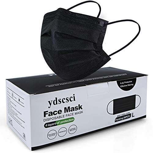 ydscsci Face Mask, Disposable 4 Ply Face Masks Protective Breathable Facial Mask for Adult Men Women Indoor Outdoor Daily Use 50 Pcs Black