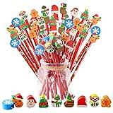 48pcs Set Lápices de Madera Arbol de Navidad Santa Claus Muñeco de Nieve Regalos Cumpleaños Comunión Navidad de Infantile Niños