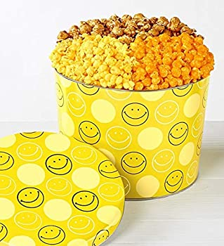The Popcorn Factory Gift Tin Smiley Face 2 Gallons  Robust Cheddar Butter Caramel