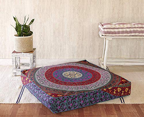 Square Hippie Mandala Floor Pillow Ottoman Pouf Cover - Indian Daybed Oversized Cotton Cushion Cover Heavy Duty Zipper Seating Ottoman Dog - Pets Bed Cover 22