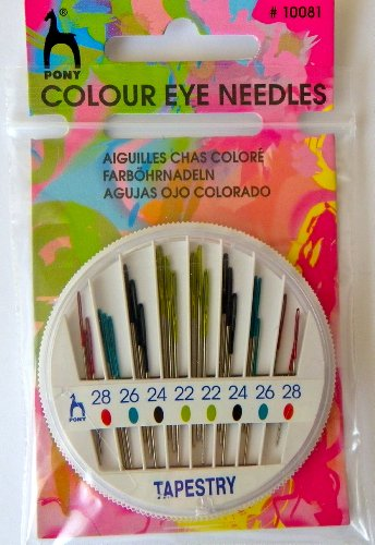 PONY P10081 Coloured Eye Tapestry Hand Sewing Needles 24 in Compact Sizes 22-28