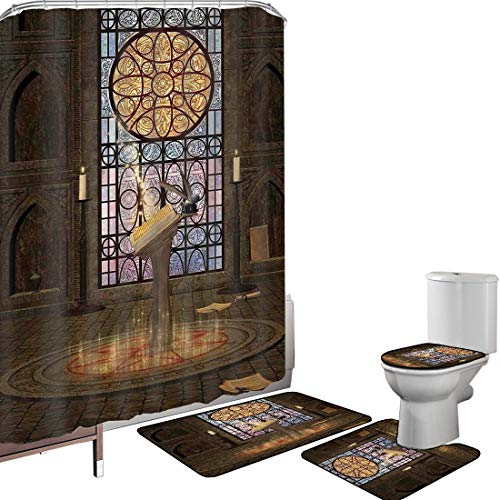 Shower Curtain Set Bathroom Accessories Carpet Set Gothic Bath Mat Contour Rug Toilet Cover Lectern on Pentagram Symbol Medieval Architecture Candlelight in Dark Spell Altar,Olive Green Mustard Non-Sl