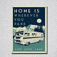 ヴィンテージレトロスタイル Get Camperイメージ ブリキ看板 メタルサイン ブリキ看板 7.8X11.8インチ