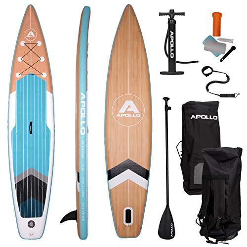 Apollo SUP Board Infinity Pro - 365 x 76 x 15 cm, iSUP Komplettset, Stand-up-Paddling Set, extra lang, aufblasbares Double Layer Board, inkl. Paddel, Pumpe und Reparaturset, Profi-Board