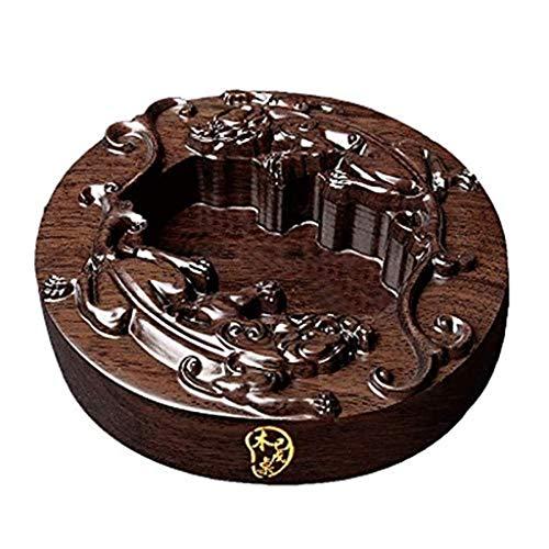Preisvergleich Produktbild KEWEI Aschenbecher,  Aschenbecher aus Massivholz kreative Persönlichkeit Hauptdekoration Handwerk handgeschnitzte Aschenbecher