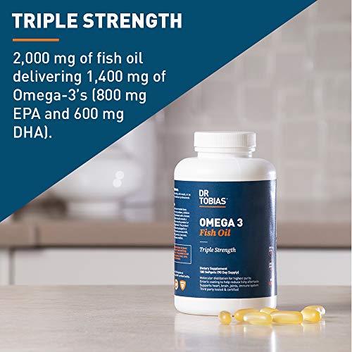 Dr. Tobias Triple Strength Omega 3 Fish Oil (180 Soft Gels)