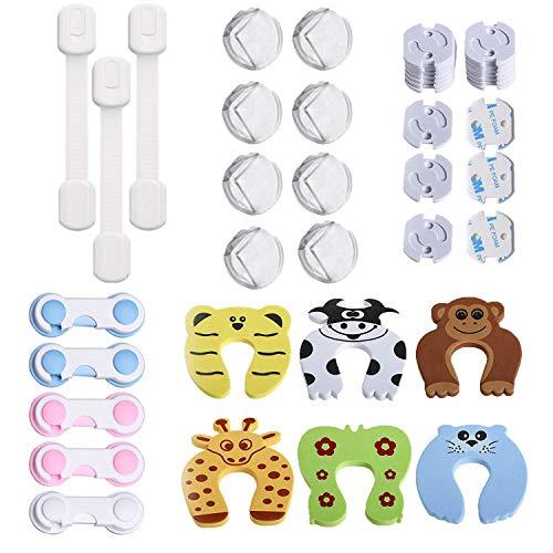 42 Pcs Kit de Seguridad para Bebés, (20 Protector Enchufes, 8 Bebé de Seguridad Bloqueo, 8 Protector de Seguridad para Niños, 6 Protectores Puertas Bebe), Pegamento de Acrílico Más Fuerte