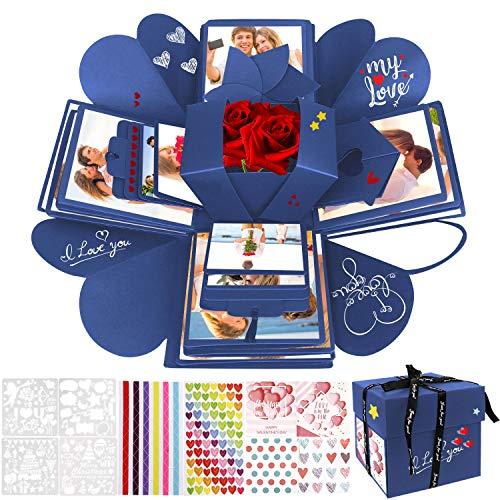 WisFox Explosion Box, Creativo DIY Hecho a Mano Sorpresa Explosión Caja de Regalo, Álbum de Fotos de Scrapbooking Caja de Regalo para Cumpleaños Día de San Valentín Aniversario Navidad (Azul)