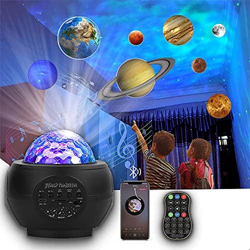 Proiezione dei pianeti Luce notturna stellata L-E-D Proiettore della galassia dell onda dell oceano Luce della musica Nebulosa Stella Telecomando Lettore Bluetooth per bambini Planetario domestico