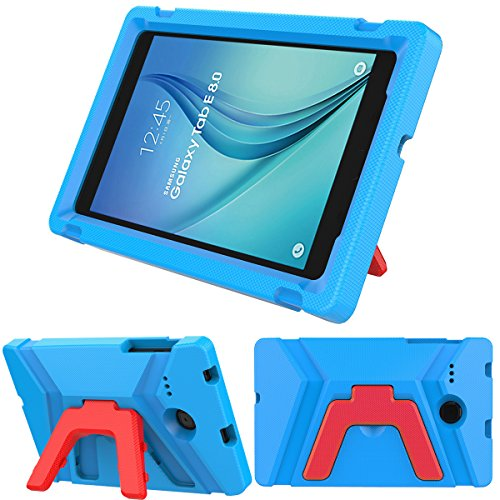 LEDNICEKER Kids Case for Samsung Galaxy Tab E 8.0 inch - Light Weight Shock Proof Kids Friendly Foldable Kickstand Protective Case for Samsung Galaxy Tab E 8-inch Tablet - Blue