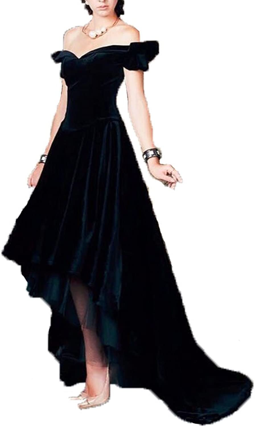 DKBridal Women's Black Velvet Cap Sleeves Evening Dresses High Low Prom Gown