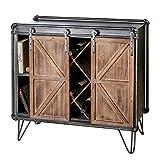 Casablanca Factory - Aparador (metal y madera, 88 cm, con 2 puertas correderas), color gris y plateado