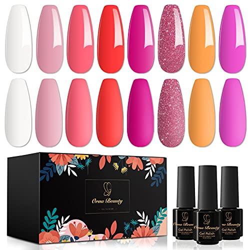 Orna Beauty Esmalte de Uñas Semipermanente, 8 Colores Holiday Mood Series con Kit de Esmalte en Gel con Purpurina Rosa Claro, Morado y Morado
