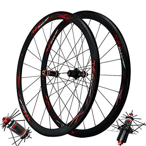 Carbono Ruedas de Bicicleta,700C Ruedas para Bicicleta Pared Doble Liberación Rápida Freno C/V Volante de 7/8/9/10/11 Velocidades (Color : Balck Red, Size : 700C)