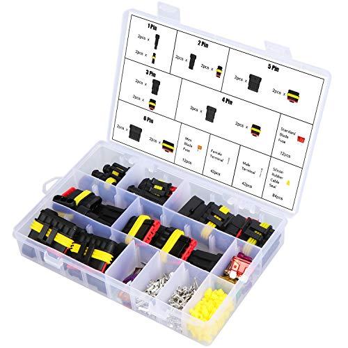 WiMas 216PCS Auto Wasserdichtes Schnellverbinder, Elektrische Terminals Stecker 1/2/3/4/5/6 Pin mit Kfz-Blade-Sicherungen für Motorrad Roller Boote