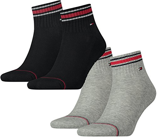 Tommy Hilfiger Lot de 4 paires de chaussettes de sport avec semelle en tissu éponge pour homme, Lot de 2 ionic noir/2 ionic Tommy Original, 39-42