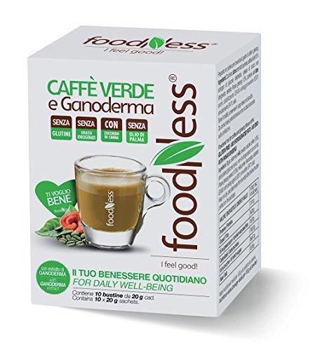 Foodness Preparato Monodose per caffè Verde e Ganoderma - 5 Confezioni da 10 bustine (Tot. 50 bustine)