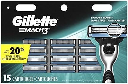 Gillette Mach3 - Recambios para maquinilla de afeitar para hombre, 15 unidades