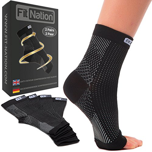 FIT NATION - (2 Paar Kompressionssocken/Fußgelenk Bandage für effektive Kompression beim Laufen & Sport - Kompressionsstrümpfe für Damen & Herren Schwarz L/XL