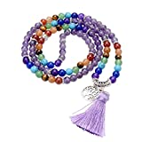 Jovivi 6mm 108 Perlen Mala Kette 7 Chakra Edelstein Buddha Armband Wickelarmband mit Lebensbaum Anhänger Energietherapie Yoga Halskette Gebetskette/Amethyst