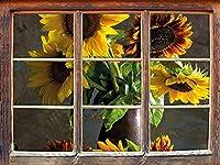 KAIASH ウォールステッカー高貴な花瓶の窓の家具ひまわり3Dウォールステッカー壁の装飾3Dウォールステッカーウォールデカール62x42cm