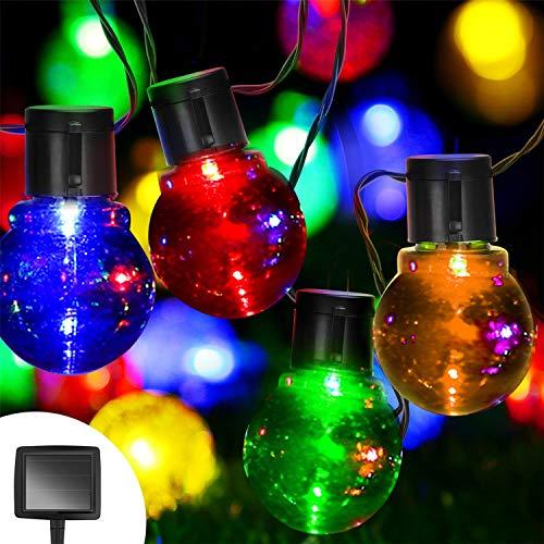 Aigostar - Guirnalda de luz LED solar exterior, 20 bombillas
