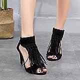 XQYPYL Zapatos Mujer de Tacón Alto Verano Comoda Sandalias De Mujer Sandalias con Flecos Sandalias con Cremallera Zapatos Bohemias,Negro,42