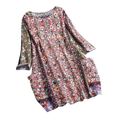 Geilisungren T-Shirt Damen Vintage Zufällig Blumenmuster Bluse Casual Langarm Rundhalsausschnitt Taschen Oberteile Frauen Lose Baumwolle Leinen Oversized Lang Tunika Tops