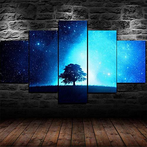 5 piezas de lienzo de arte de pared Noche estrellada de árbol azul mágico 5 piezas de lienzo Foto Regalo Moderno Decoración Decorativo para Tu Salón o Dormitorio Mural Hd Con Marco