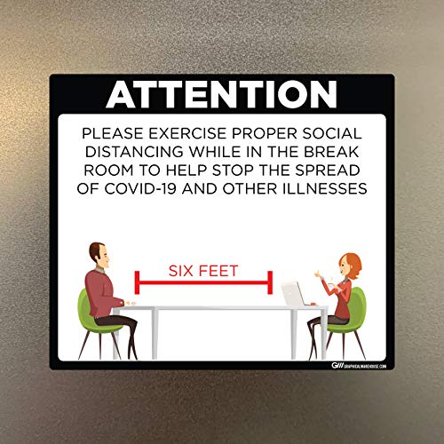 'Break Room Social Distancing' COVID-19 (Coronavirus) Adhesive Durable Vinyl Decal- (Various Sizes Available) Sign by Graphical Warehouse- Safety and Security Signage (11.25x9.65', Black)