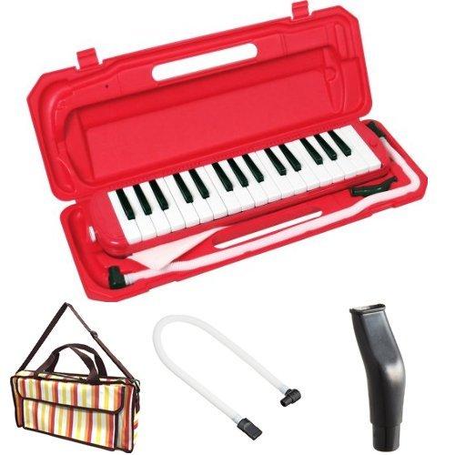 KC 鍵盤ハーモニカ (メロディーピアノ) レッド P3001-32K/RD + 専用バッグ[Multi Stripe] + 予備ホース + 予備吹き口 セット